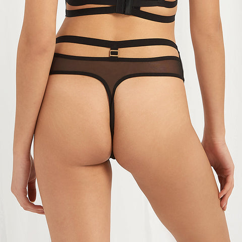 Rhodes High Waist Thong Black