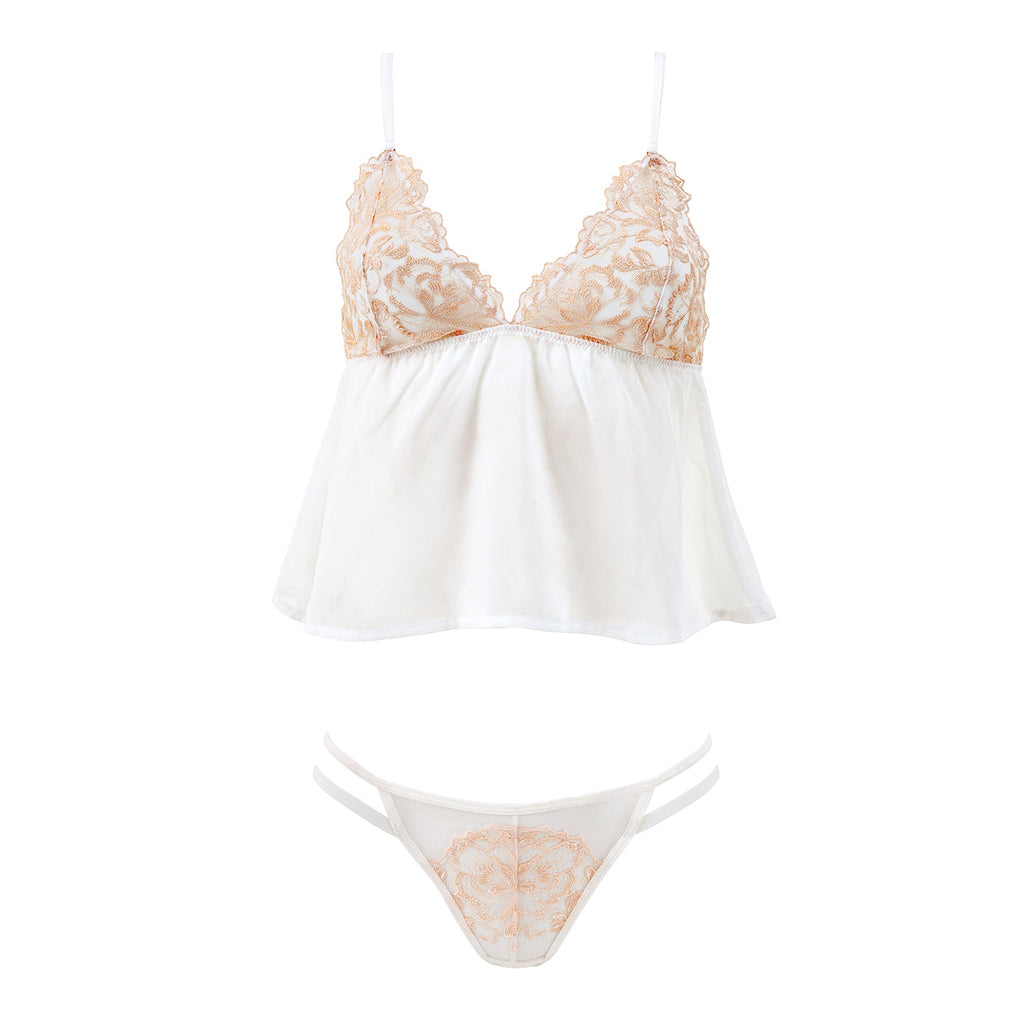 Sana Chemise and Thong Set Ivory/Rose Dust