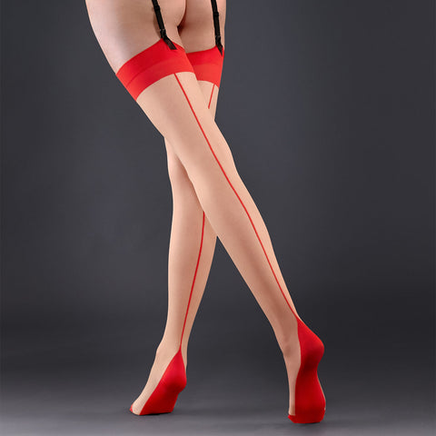 Stockings Backseam Leg Champagne/Red