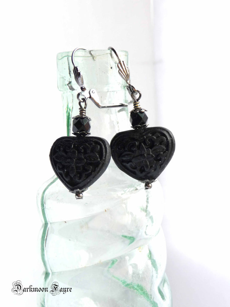 Heart of Darkness Earrings. Victorian Vampire Inspired Hand Wired ...