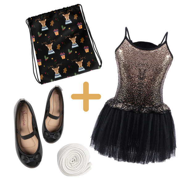 "Girls' Xmas Outfit ""Sparkly Reindeer"" : Sequin Dress, Footed Tights, Drawstring Bag & Mary Jane Shoe"