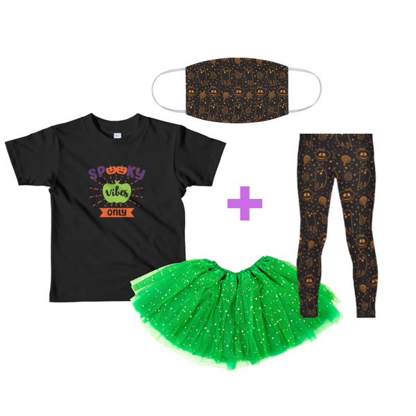 "Girls' Halloween Outfit ""Spooky Vibes Only"": T-Shirt, Legging, Tutu & Face Mask"