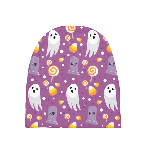 "Dancina Halloween Baby's Beanie ""Purple Boo"""