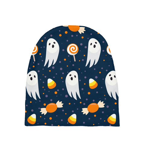 "Dancina Halloween Baby's Beanie ""Blue & Orange Boo"""
