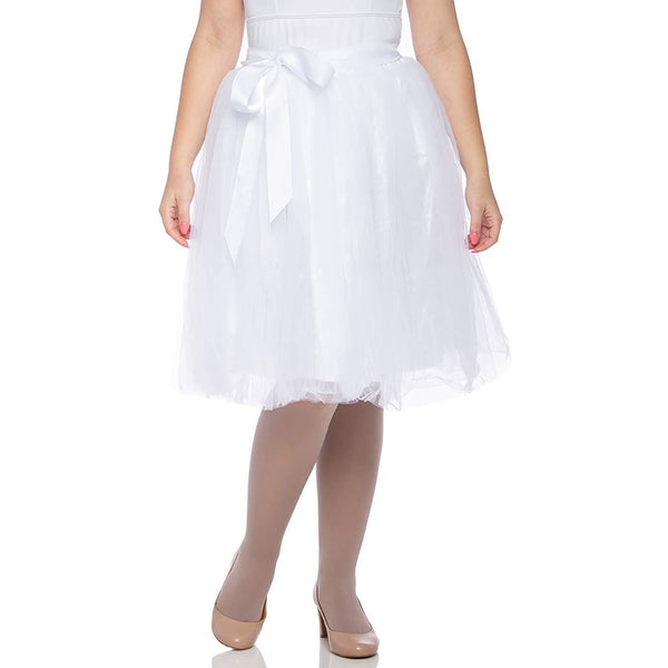 Adults & Girls A-line Knee Length Tutu Tulle Skirt - Regular and Plus Size in White