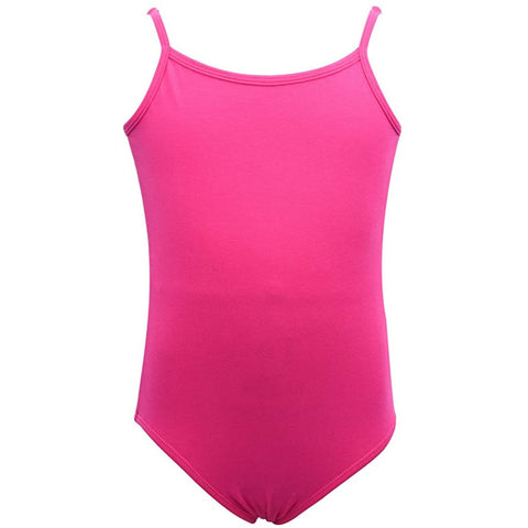Dancina Cotton Camisole Leotard Camisole with Full Front Lining in Hot Pink