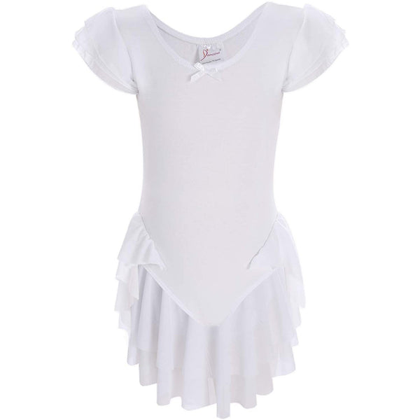 Dancina Girls' Ballet Leotard with Ruffle Sleeves and Flutter Waist in White