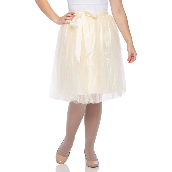 Adults & Girls A-line Knee Length Tutu Tulle Skirt - Regular and Plus Size in Ivory