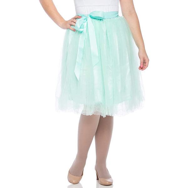 Adults & Girls A-line Knee Length Tutu Tulle Skirt - Regular and Plus Size In Mint