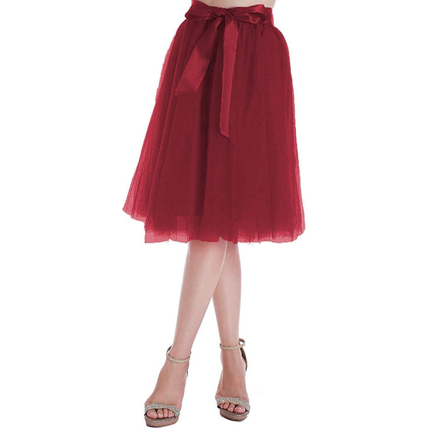 Dancina Women's A-Line Tea Length Midi Tulle Skirt - Regular and Plus Size in Wine Red