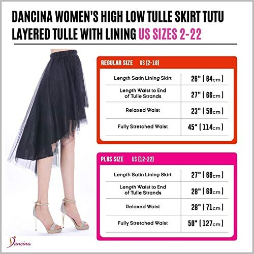 Dancina High Low Tulle Skirt for Adults - Regular and Plus Size