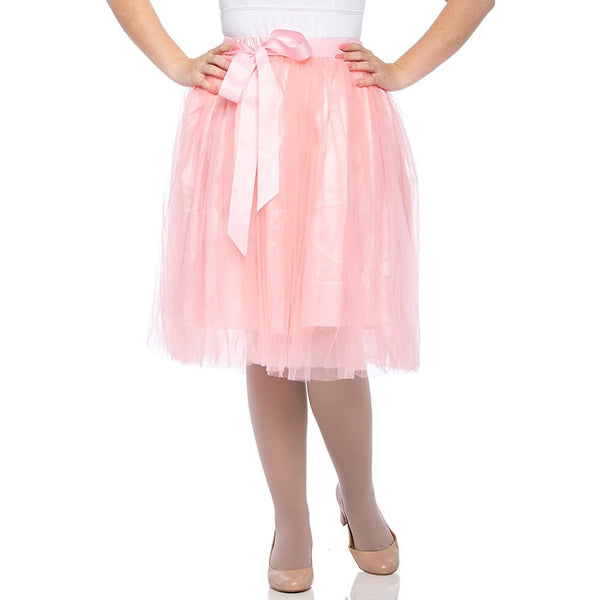 Adults & Girls A-line Knee Length Tutu Tulle Skirt - Regular and Plus Size in Peach
