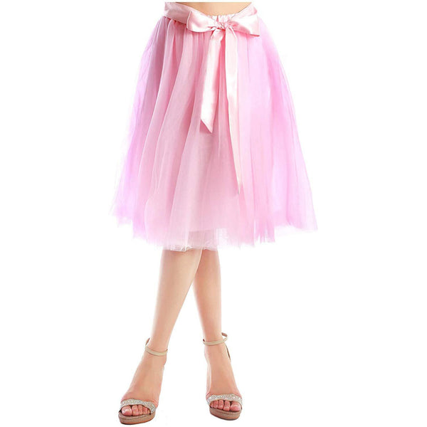 Dancina Women's A-Line Tea Length Midi Tulle Skirt - Regular and Plus Size In Pink