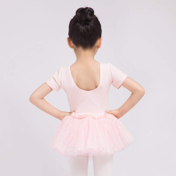 Dancina Leotard Sparkle Tutu Dress Short Sleeve in Ballet Pink
