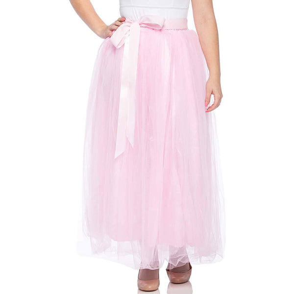pink long tulle skirt for girls