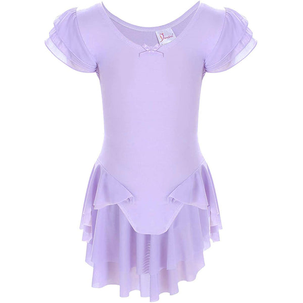 Dancina Girls' Ballet Leotard with Ruffle Sleeves and Flutter Waist in Lavender