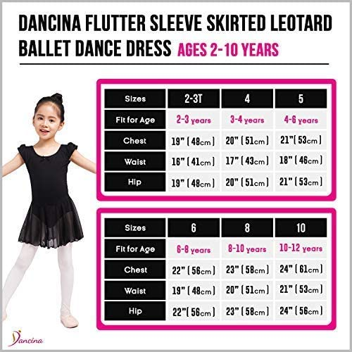 Dancina Flutter Sleeve Skirted Leotard for Girls Size Chart