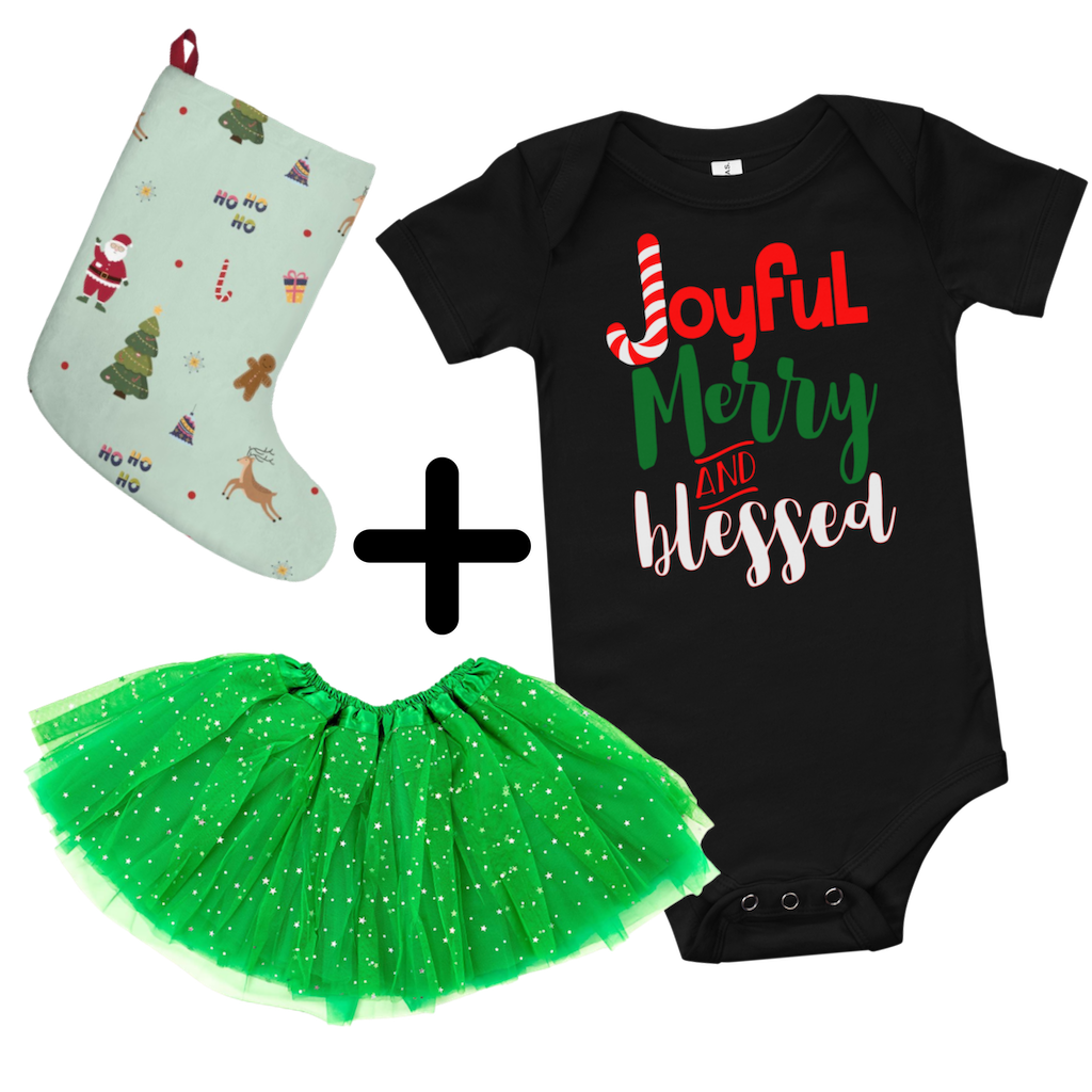 Dancina Christmas Outfit Joyful Merry & Blessed