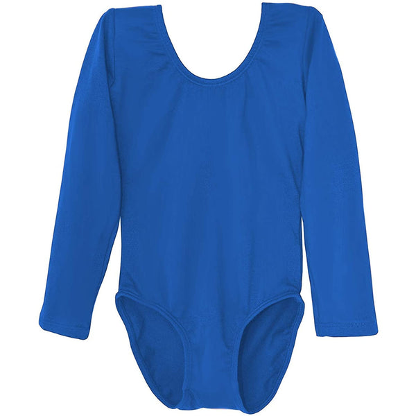 Dancina Girls' Long Sleeve Cotton Ballet Leotard Front Lined in Royale Blue