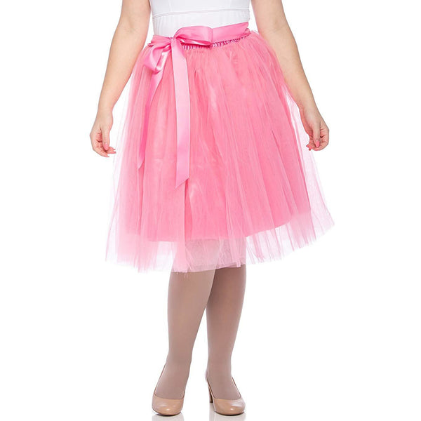 Adults & Girls A-line Knee Length Tutu Tulle Skirt - Regular and Plus Size in Pink