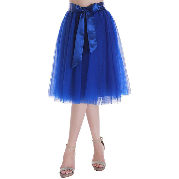 Dancina Women's A-Line Tea Length Midi Tulle Skirt - Regular and Plus Size in Blue