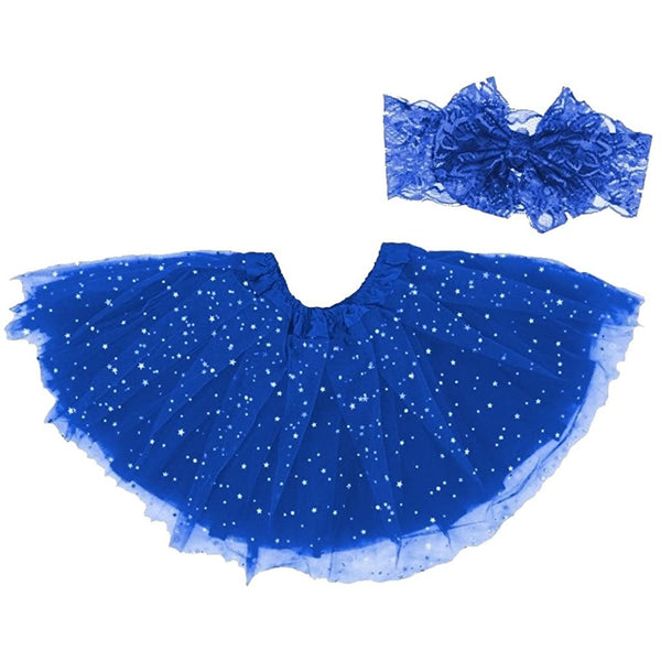 girl tutu skirt blue with headband