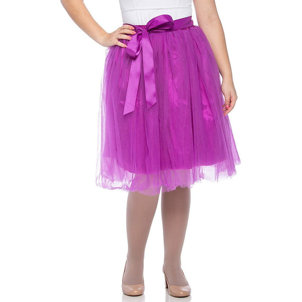 Adults & Girls A-line Knee Length Tutu Tulle Skirt - Regular and Plus Size in Purple