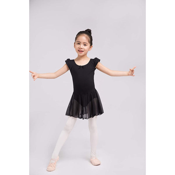 Dancina Flutter Sleeve Skirted Leotard for Girls in Black