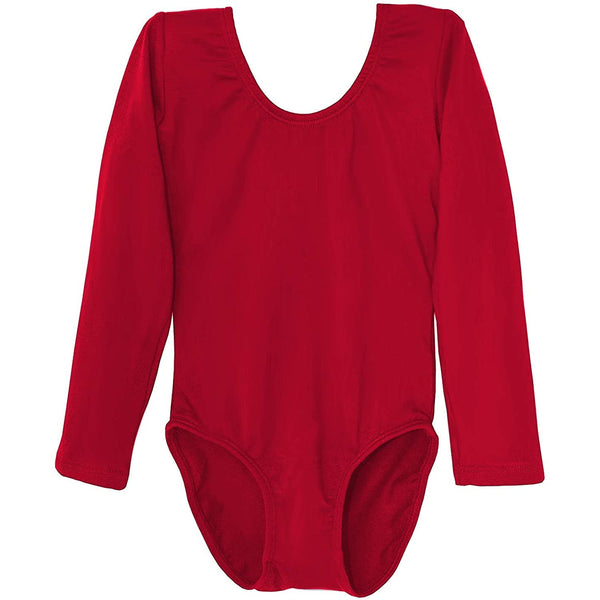 Dancina Girls' Long Sleeve Cotton Ballet Leotard Front Lined in Red