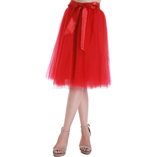 Dancina Women's A-Line Tea Length Midi Tulle Skirt - Regular and Plus Size in Bright Red