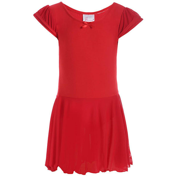 Dancina Flutter Sleeve Skirted Leotard for Girls in Red