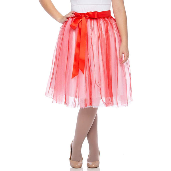 Adults & Girls A-line Knee Length Tutu Tulle Skirt - Regular and Plus Size White Red