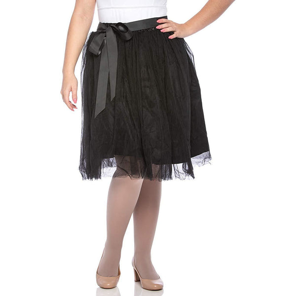 Adults & Girls A-line Knee Length Tutu Tulle Skirt - Regular and Plus Size in Black