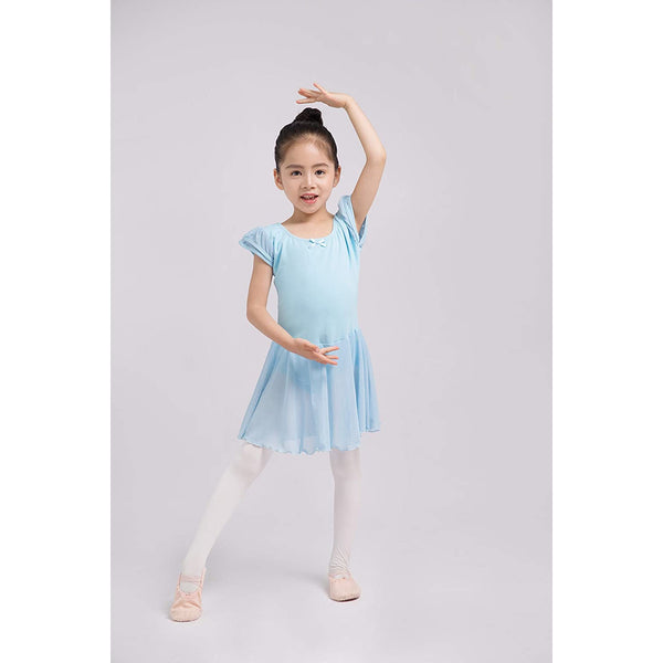 Dancina Flutter Sleeve Skirted Leotard for Girls in Light Blue