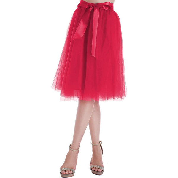 Dancina Women's A-Line Tea Length Midi Tulle Skirt - Regular and Plus Size in Fuchsia Pink
