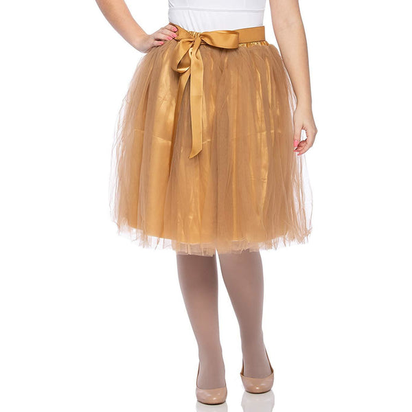 Adults & Girls A-line Knee Length Tutu Tulle Skirt - Regular and Plus Size in Gold