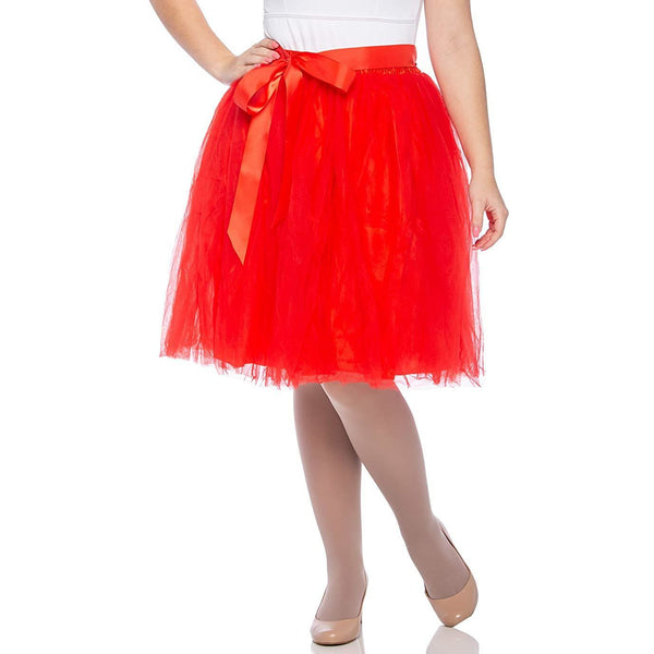Adults & Girls A-line Knee Length Tutu Tulle Skirt - Regular and Plus Size in Red