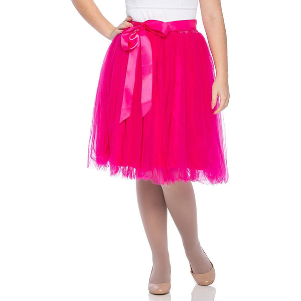 Adults & Girls A-line Knee Length Tutu Tulle Skirt - Regular and Plus Size in hot Pink