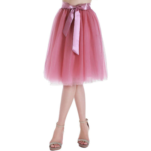 Dancina Women's A-Line Tea Length Midi Tulle Skirt - Regular and Plus Size in Blush Pink