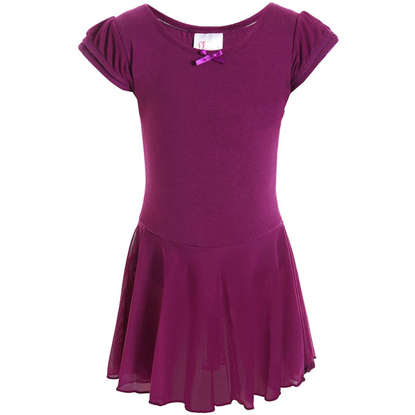 Dancina Flutter Sleeve Skirted Leotard for Girls Dark Purple