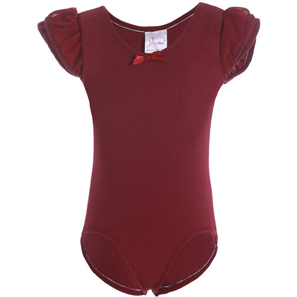 Dancina Girls Ballet Leotard with Flutter Sleeve and Full Front Lining in Wine Red