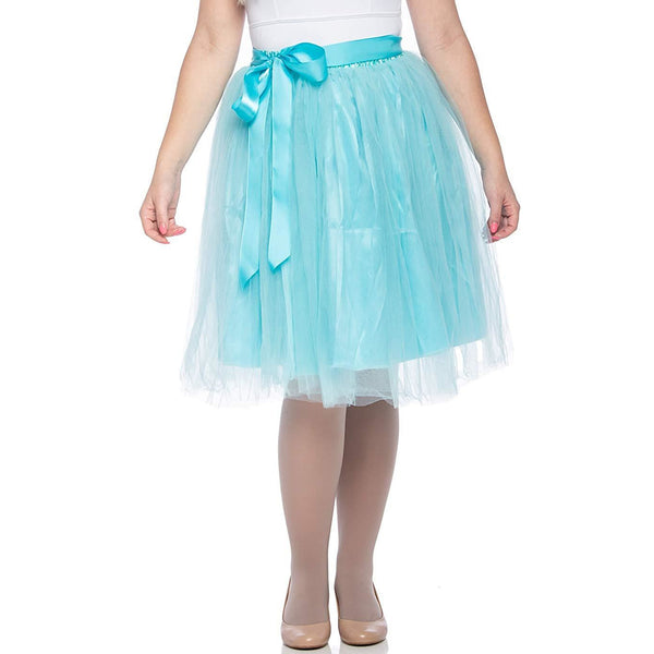 Adults & Girls A-line Knee Length Tutu Tulle Skirt - Regular and Plus Size in Turquoise
