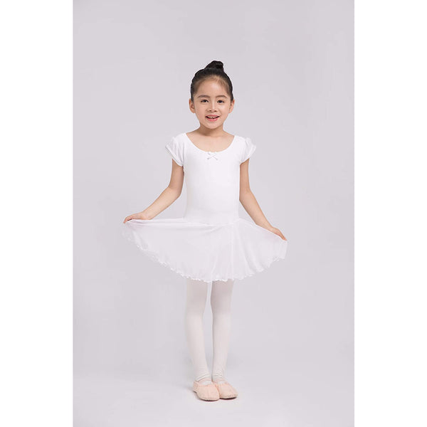 Dancina Flutter Sleeve Skirted Leotard for Girls in White