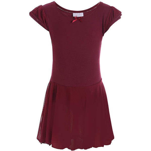 Dancina Flutter Sleeve Skirted Leotard for Girls in Wine Red