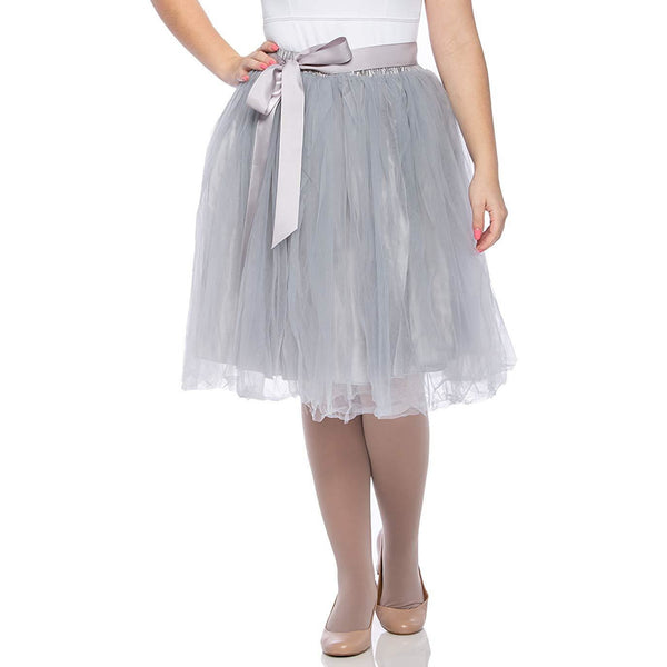 Adults & Girls A-line Knee Length Tutu Tulle Skirt - Regular and Plus Size in Grey