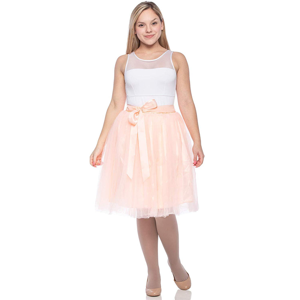df1ddeabbae ... Dancina Women s Knee Length Tutu A Line Layered Tulle Skirt for Dates  Prom Party ...