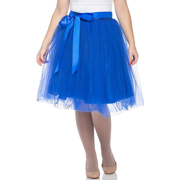 Adults & Girls A-line Knee Length Tutu Tulle Skirt - Regular and Plus Size Blue