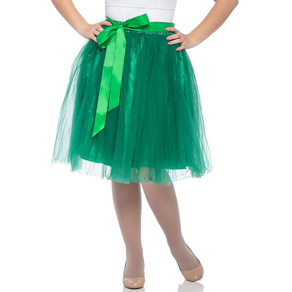 Adults & Girls A-line Knee Length Tutu Tulle Skirt - Regular and Plus Size in Green