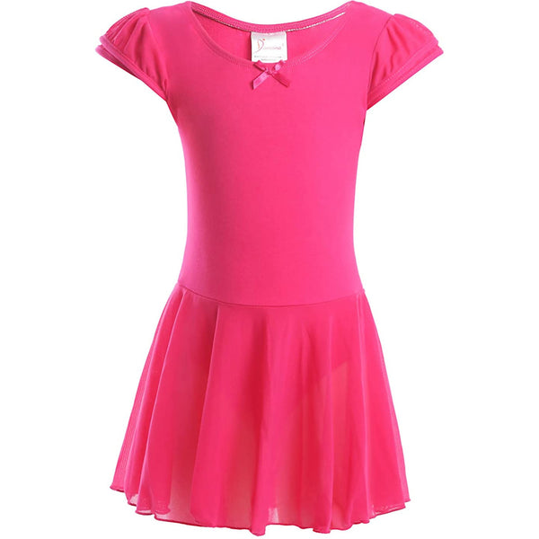 Dancina Flutter Sleeve Skirted Leotard for Girls in Hot Pink
