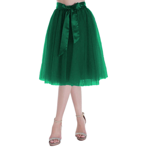 Dancina Women's A-Line Tea Length Midi Tulle Skirt - Regular and Plus Size In Green